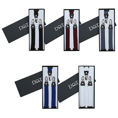 Boys Braces Plain Leather Adjustable Heavy Duty Suspenders FREE Pocket Square