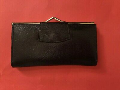 Vintage Black Leather Calf Purse Coin Made In England