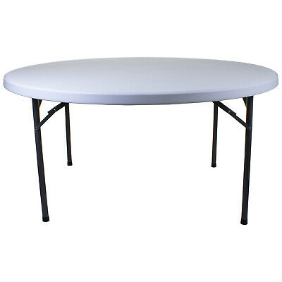 5FT Round Folding Table White Blow Moulded Outdoor Furniture Banquet Heavy Duty