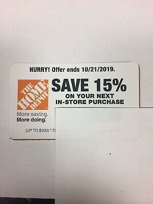 Home Depot 15% Off Coupon -In Store Only Save up to $200