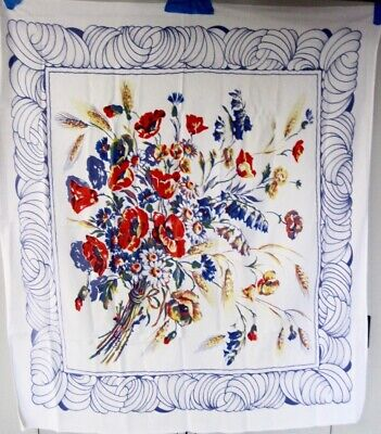 "Vintage Red/Blue Floral Bouquet with Blue Scroll Edging Tablecloth - 50"" x 44"""