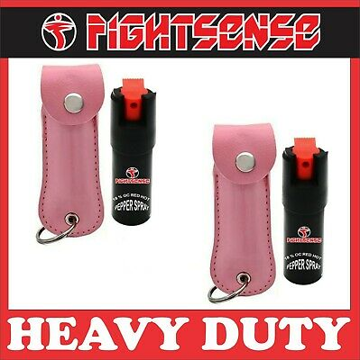 2 Pack Pepper Spray Maximum Strength W-Leather Case Self Defense Security Pink