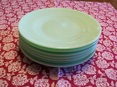 "(7) RARE Jadite Restaurant Ware 8"" Luncheon/Salad Plates Raised Foot Fire King"