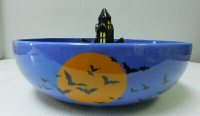 Halloween Blue Purple Ceramic Candy Bowl With Haunted House Grandinroad