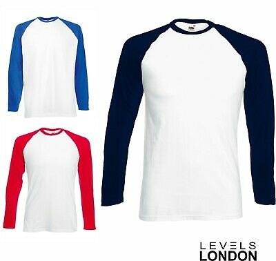 Fruit of the loom baseball long sleeve men's top t-shirt red blue navy 61028