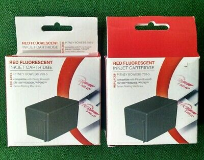 2x Pitney Bowes 793-5 Compatible Red Ink Cartridge For DM100i DM200L P700 NEW