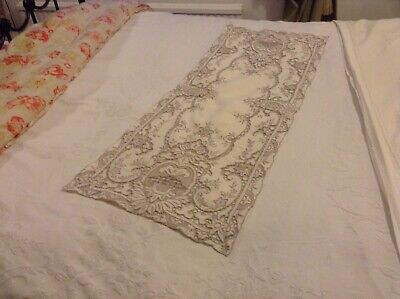 Vintage Cream Linen Table Runner With Madeira Design Hand Embroidery