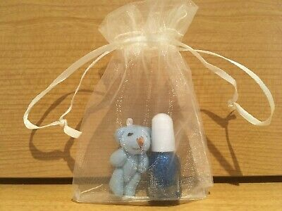 Small Mini Teddy Bear and mini nail polish gift finished off with organza bag