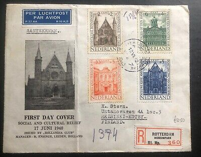 1948 Rotterdam Netherlands First Day Cover FDC Social & Cultural To Finland