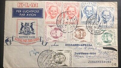 1946 The Hague Netherlands First Flight Cover To Johannesburg South Africa KLM B