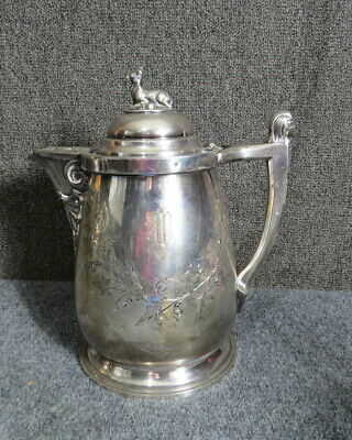 Wilcox Silver plated water pitcher 1854 figure of goat