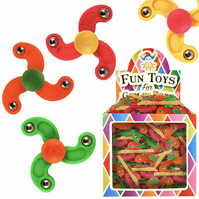 12 Mini Finger Fidget Spinners Kids/Unisex Fun Toy Birthday Party Bags Fillers