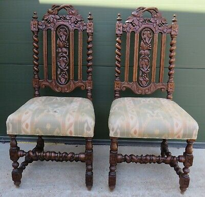 Pair of Antique Victorian Carved Oak Barley Twist Hall Chairs Black Forest Style