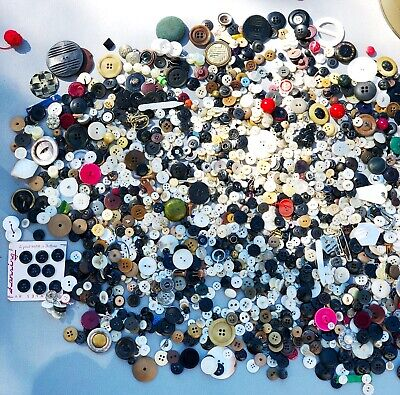 Unsearched Lot of Antique VINTAGE BUTTONS Rhinestone Metal Shell Bakelite