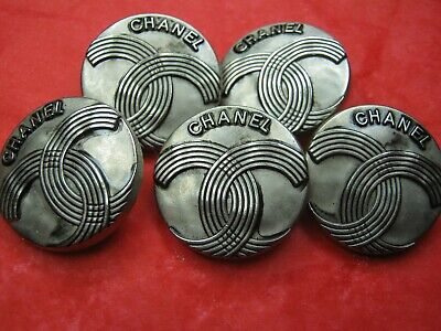 CHANEL 5   BUTTONS  sz 24mm SILVER cc logo, 5 pc STAMPED FREE SHIPPING