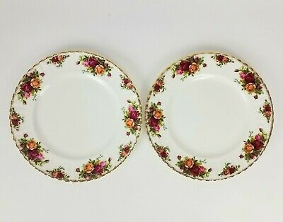 "Set Of 2 Royal Albert Old Country Roses 10-3/8"" Dinner Plates 7 Sets Available"