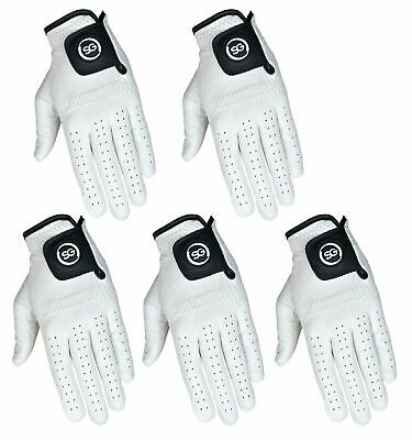 PACK OF 5 Men white Cabretta Leather Golf gloves Right & Left hand available