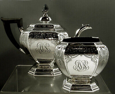 Gorham Sterling Silver Tea Set       1917 Hand Decorated