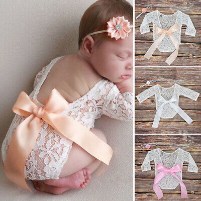 Newborn Baby Girl Lace Floral Romper Jumpsuit Bodysuit Backless See Through