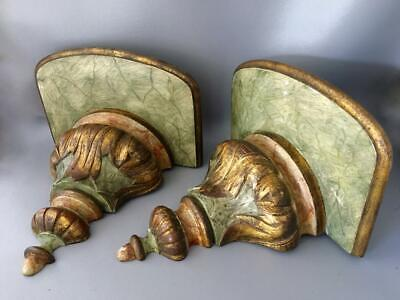 ANTIQUE LATE 1800's ITALIAN FLORENTINE GOLD HAND CARVED WOOD SHELF SCONCE PAIR