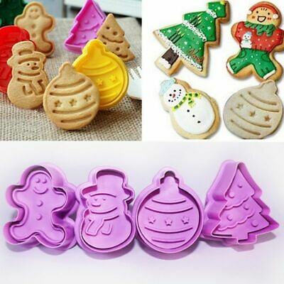 4Pcs Christmas Cookie Biscuit Plunger Cutter Mould Fondant Cake Mold Baking AU