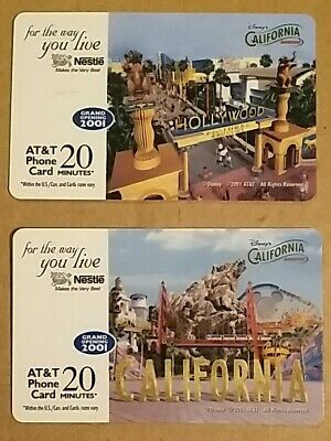 Disney California Nestle SET of 2 Prepaid Phone Card 2001 NEW EXPIRED Disneyland