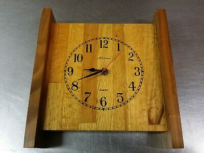 Vintage Sexton Butcher Block Wall Clock, Mid Century Modern, Solid Wood, Working