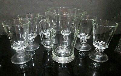 6 La Rochere Bee Clear Glass Stemmed Water Glasses Paris Musees & A Bee Pitcher