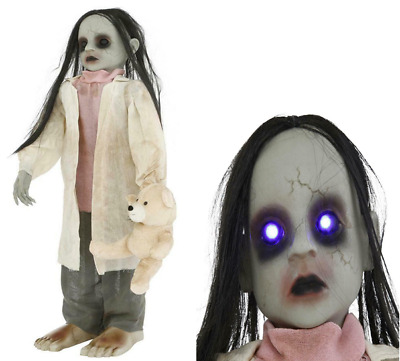 Halloween Props Life Size Decor Animated Zombie Girl w/ Bear Lighted Eyes LED
