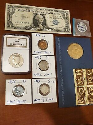 Beginner Coin Collection Lot Silver Mercury DIME, STEEL WAR PENNY, Coins Vintage