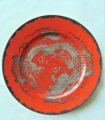 Rare Antique Chinese Porcelain Red Coral Plate With Silver Dragons