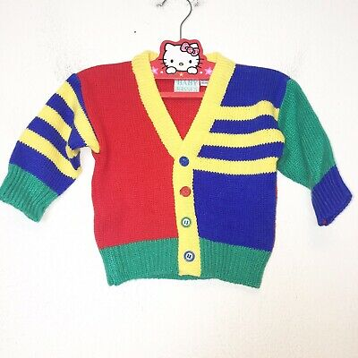 Vintage Baby Colorblock Cardigan Sweater Size 12 Months