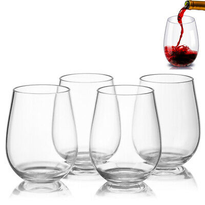 4 Set Plastic Wine Glasses Stemless Red White Wine Drinking Cup - Unbreakable UK