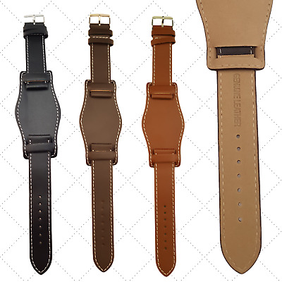 Military Watch Strap,Genuine Leather Cuff Style, Black, Brown,Tan,18mm 0r 20mm