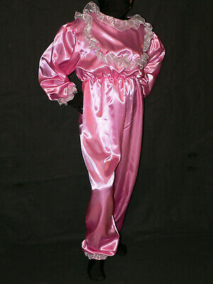 R33*ADULT BABY Sissy Overall Satin onepice with frills