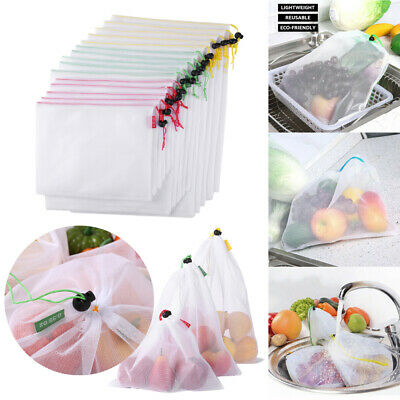 3/5/12/15pcs Reusable Produce Bags Mesh Vegetable Fruit Toys Storage Pouch