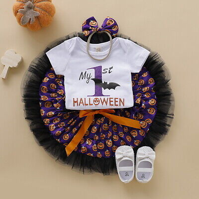 Infant Baby Girl My 1st Halloween Party Romper Tutu Dress 3Pcs Clothes Outfits