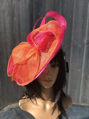 Suzanne Bettley Hot Pink And Orange Wedding Hat Disc Fascinator Formal Occasion