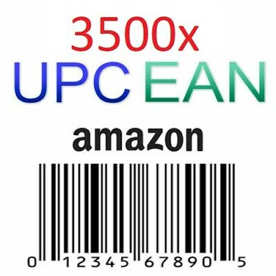 1000 + 2500 Gift UPC EAN AMAZON Numbers Barcodes Bar Code GS1 approved Lifetime