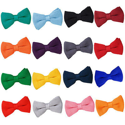 DQT Mens Bow Tie Knit Knitted Plain Adjustable Formal Pretied FREE Pocket Square