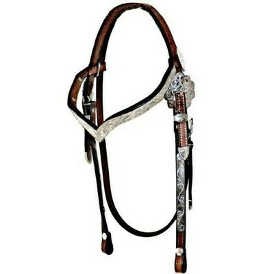 Dale Chavez Sterling Silver Plate V Shaped Browband Western Show Headstall