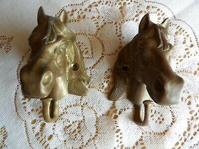 """Vintage 2 Horse Heads Wall Hanger Hooks brass or cast iron 4 1/2"""" tall 3"""" wide"""