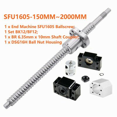 SFU1605 Rolled BallScrew Kit L150-2000mm & Ballnut Housing & Coupler & BK/BF12