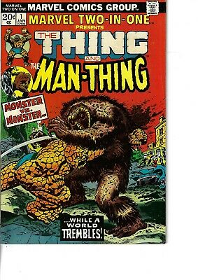 Marvel Two In One 1 Thing Man Thing Fine+ 1973 Glossy