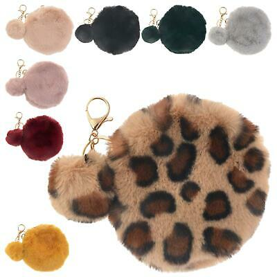 New Pom-Pom Charm Detail Synthetic Fur Ladies Girls Round Coin Bag