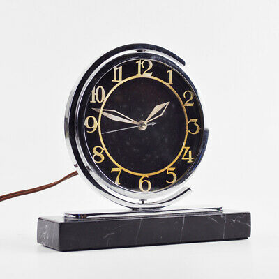 Old Table Clock - Watch - Electric & Swivel-Mounted - Marble - Vintage Art Deco