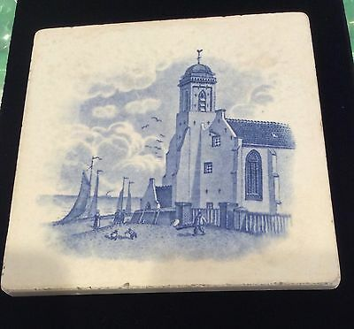 Tile Trivet Transfer Printed Design of Church by the Sea Blue & White # 92