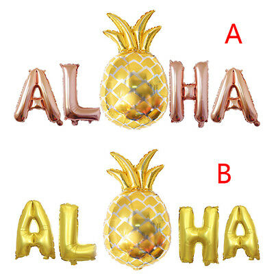 aloha gold foil balloons hawaii party banner tropical beach party decorSC