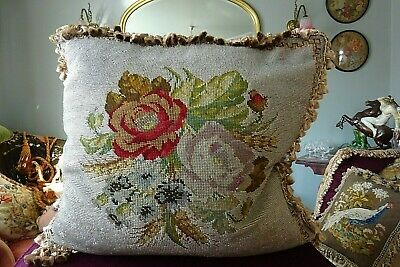 Large Victorian beadwork and needlework cushion perfect condition