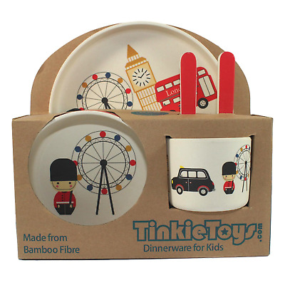 LONDON BUS Kids Eco Friendly Bamboo Dinnerware Set by Tinkie Toys